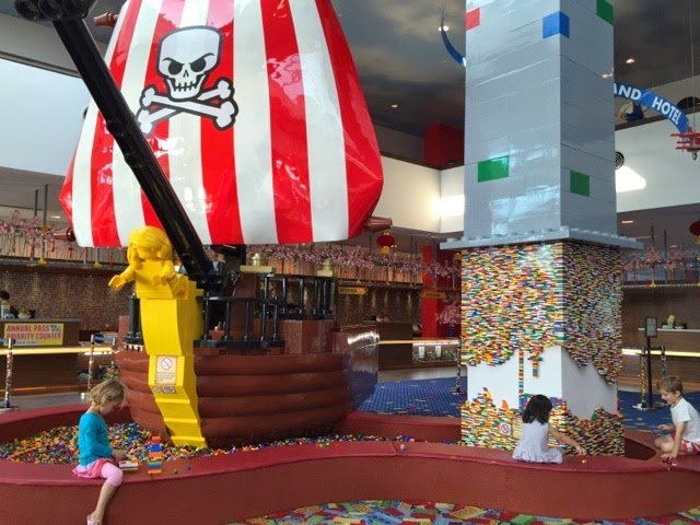 Hotel lobby filled with Lego pieces