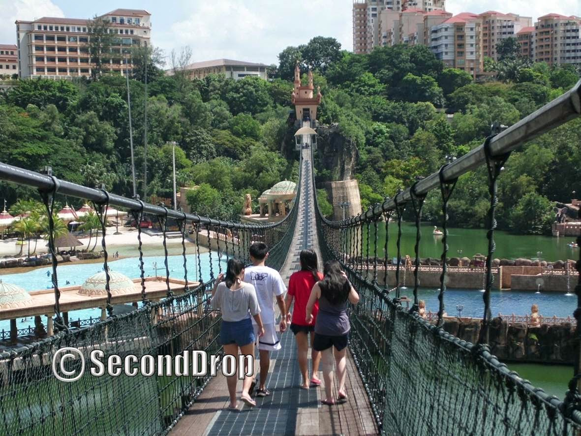 This suspended bridge is over 400 meters long! Note the flying fox and bungee jump station at the other end of the bridge.