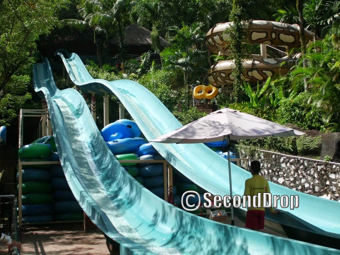 The landing area of Cameroon Climb. The slides actually extend beyond this picture in an upward slope, so the ride actually ends of like a mini-boomerang as the raft will slide back to the exit here.